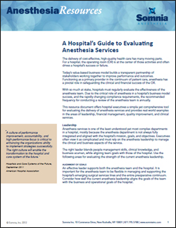 anesthesia resource evaluating anesthesia services