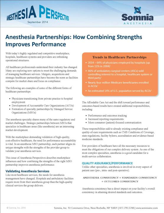 Anesthesia Partnerships FINAL Sept2014   COVER